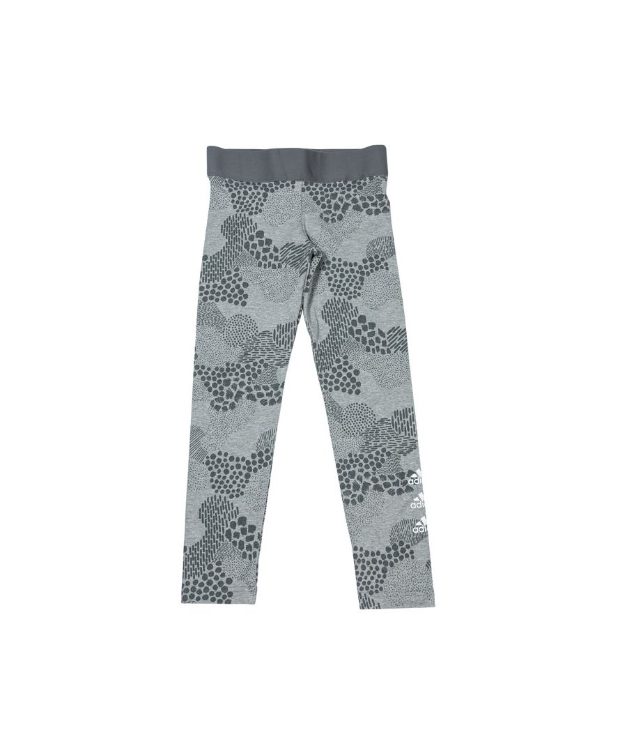 Image for Girls' adidas Junior Must Haves Graphic Leggings Grey Heather 13-14In Grey Heather