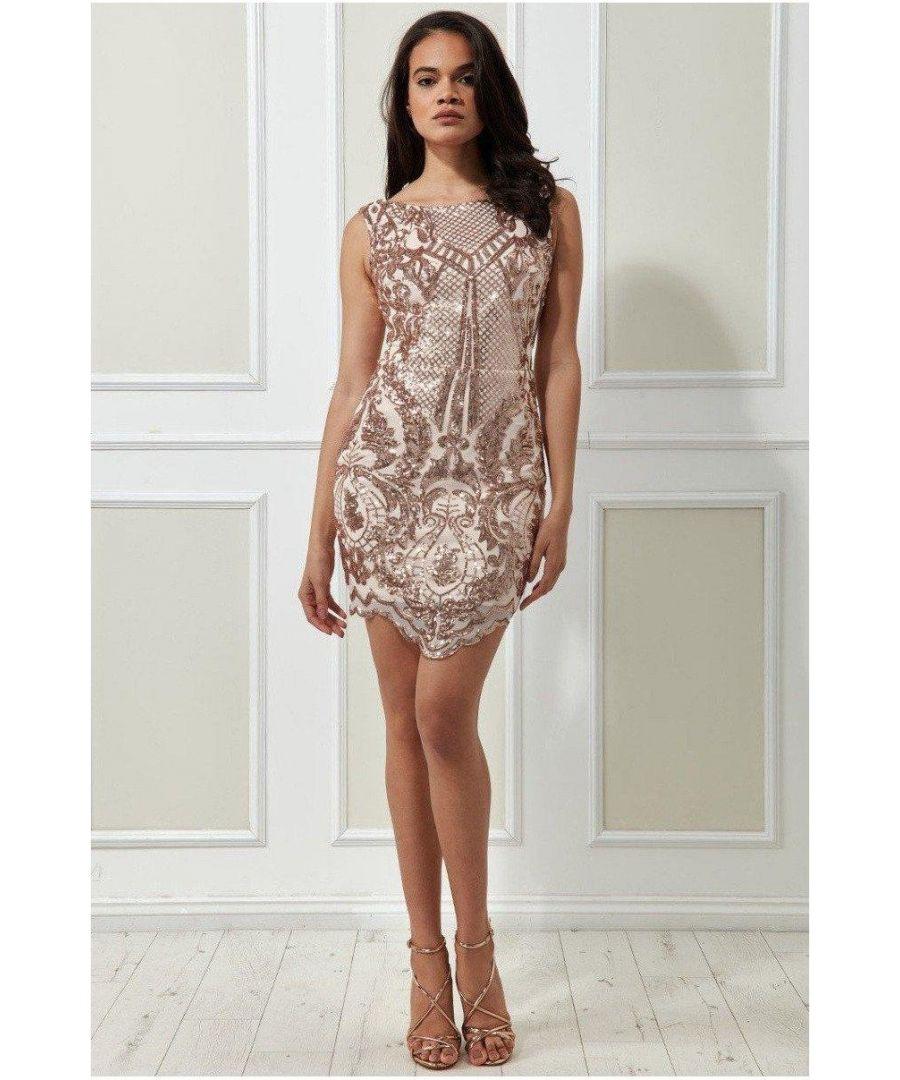 Image for Goddiva Sequin Scalloped Hem Mini Dress - Blush