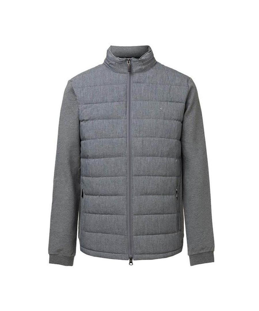 Image for Men's Hackett Nylon Quilted Hoody in Grey Marl