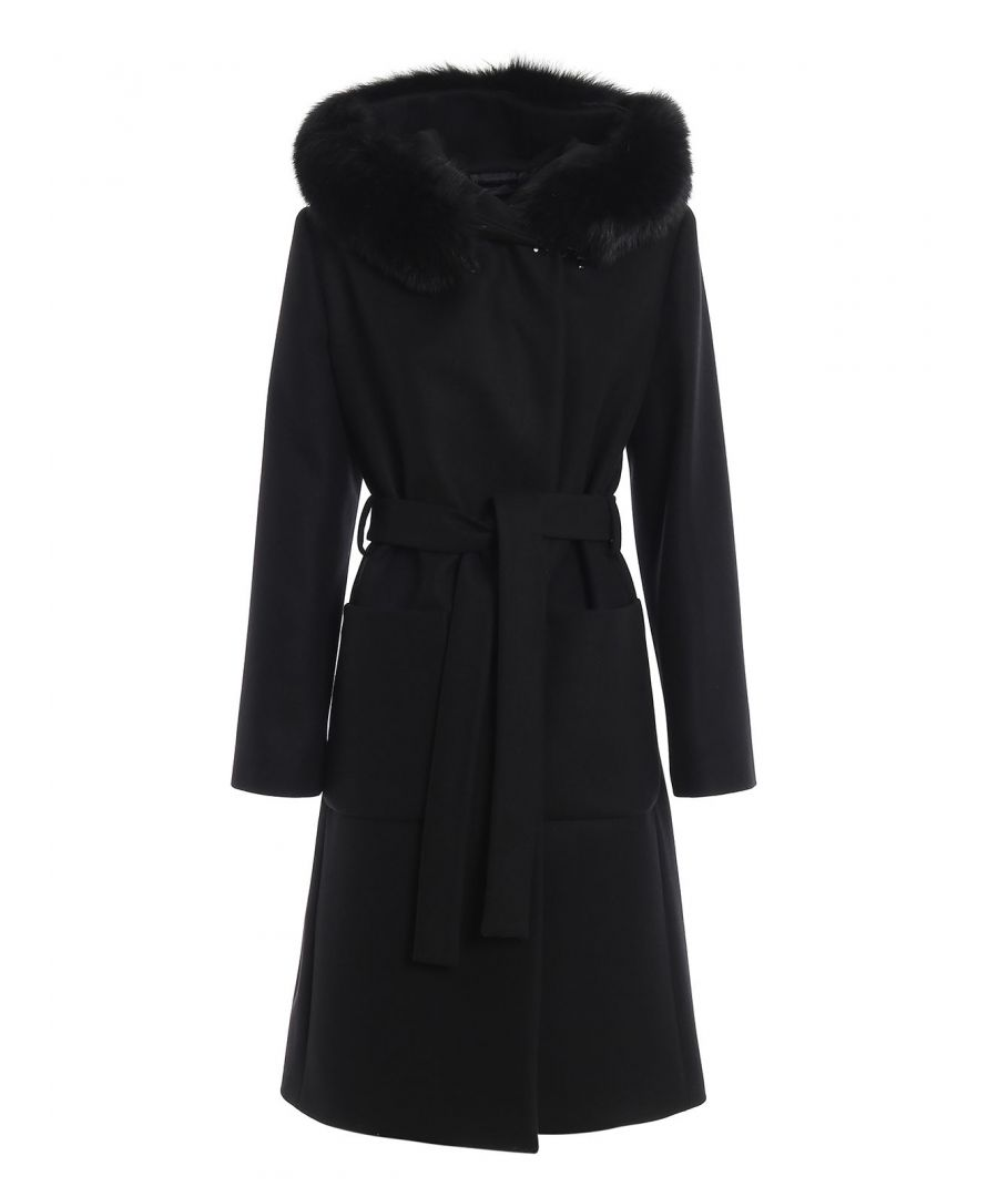 Image for FAY WOMEN'S NAW5439357URCPB999 BLACK WOOL COAT