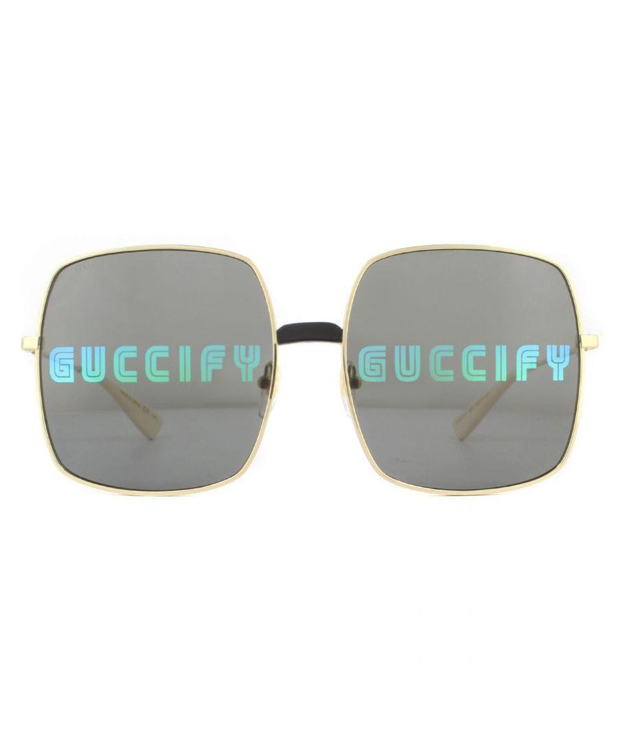 Image for Gucci Sunglasses GG0414S 002 Gold Grey with Multicolour Guccify Mirror