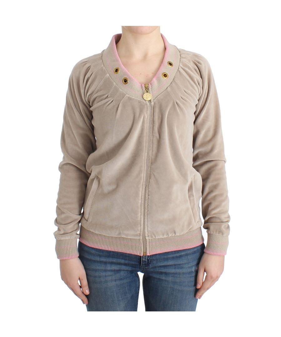 Image for Cavalli Beige velvet zipup sweater
