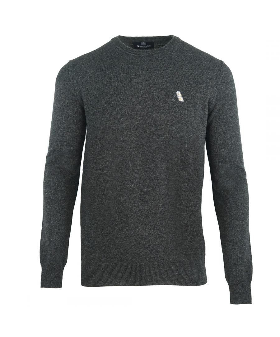 Image for Aquascutum Checked A Logo Dark Grey Sweater