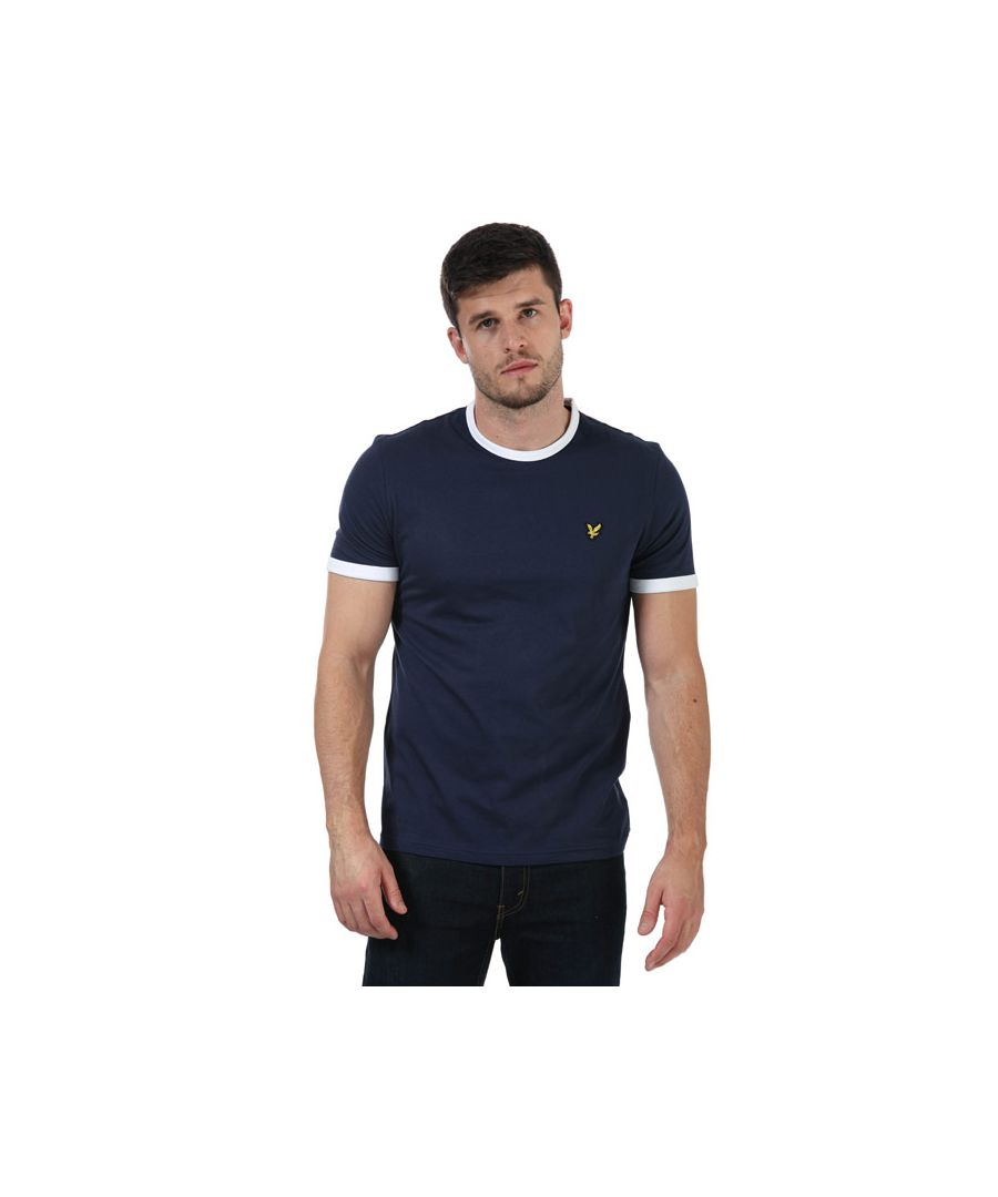 Image for Men's Lyle And Scott Ringer T-Shirt in Navy-White