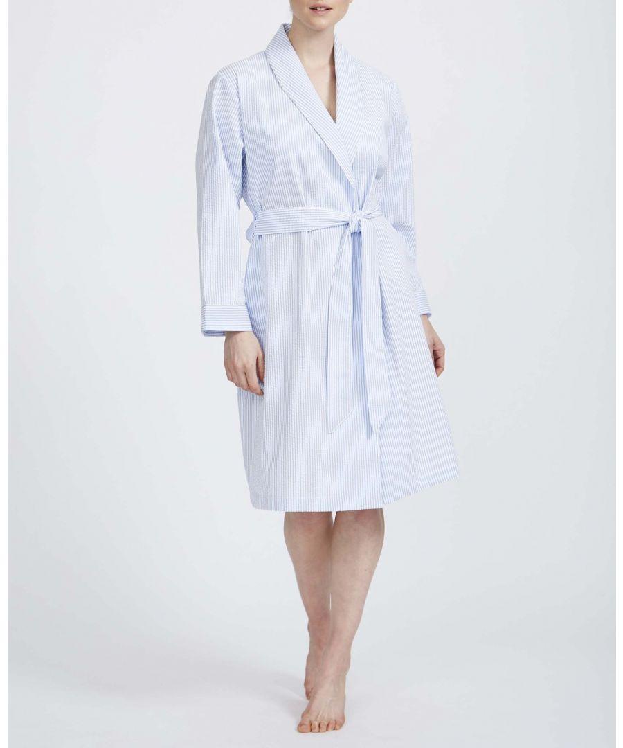 Image for British Boxers Women's Porthtowan Seersucker Mid Length Dressing Gown