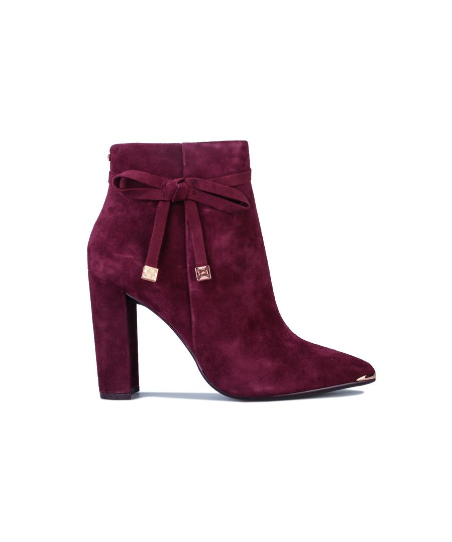 Image for Women's Ted Baker Qatena Suede Ankle Boots in Burgundy