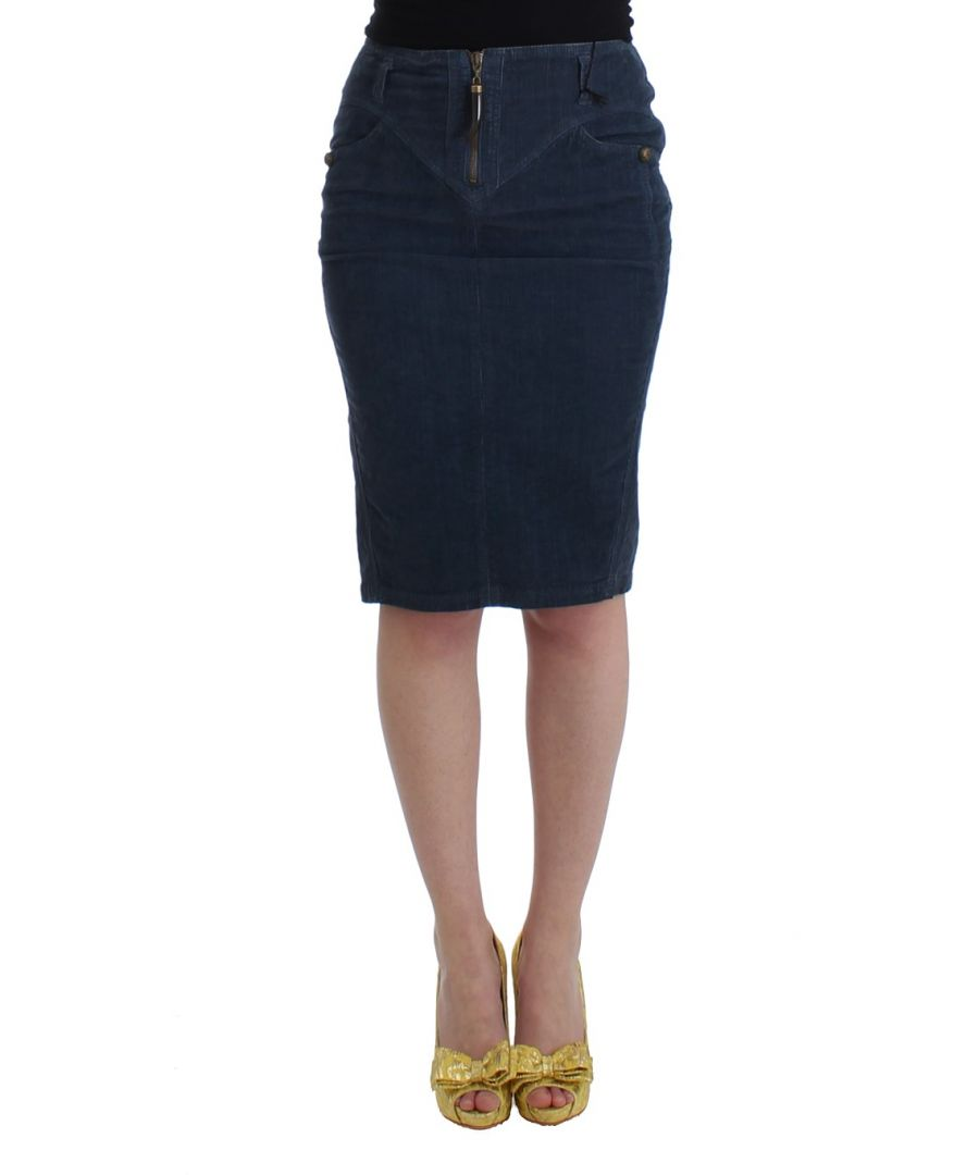 Image for Cavalli Blue corduroy pencil skirt