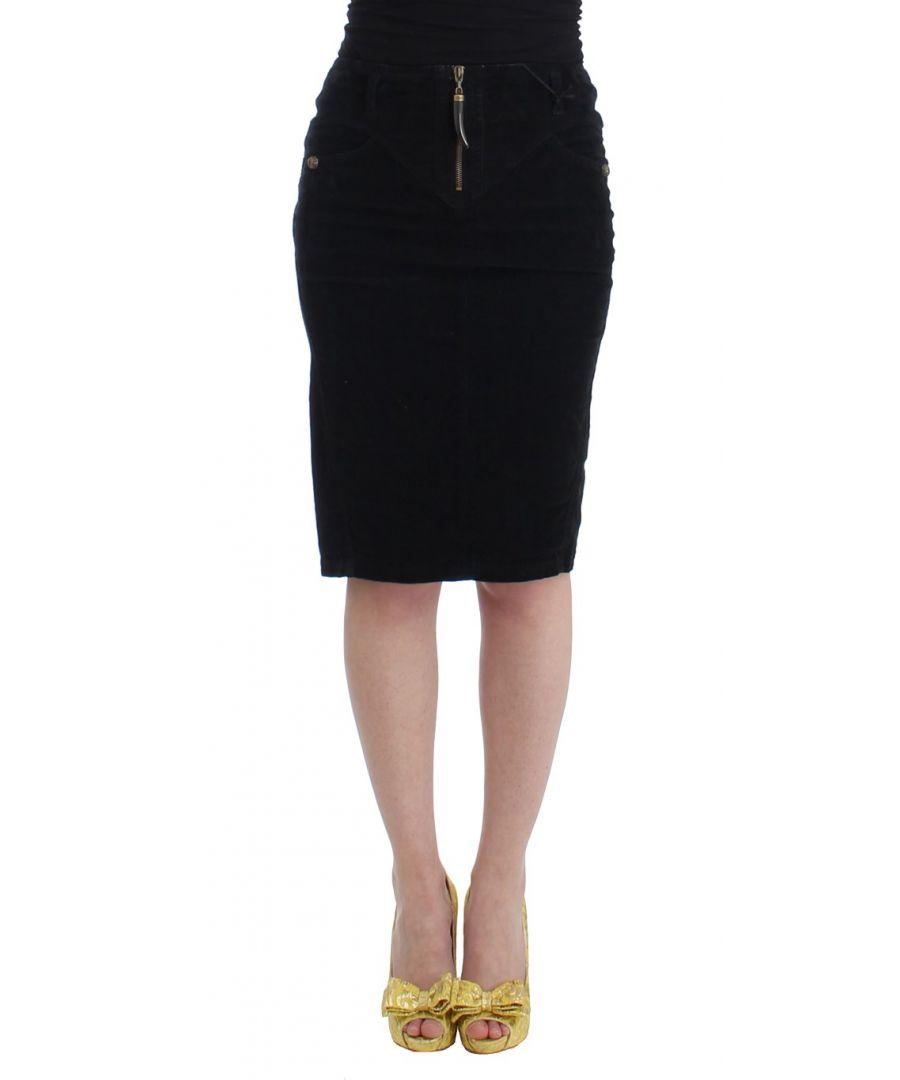 Image for Cavalli Black Corduroy Pencil Skirt