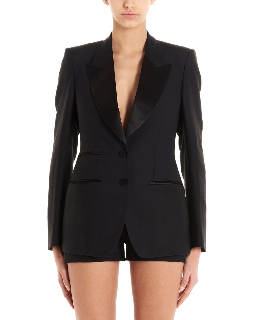 Image for TOM FORD WOMEN'S GI2695FAX375LB999 BLACK WOOL BLAZER