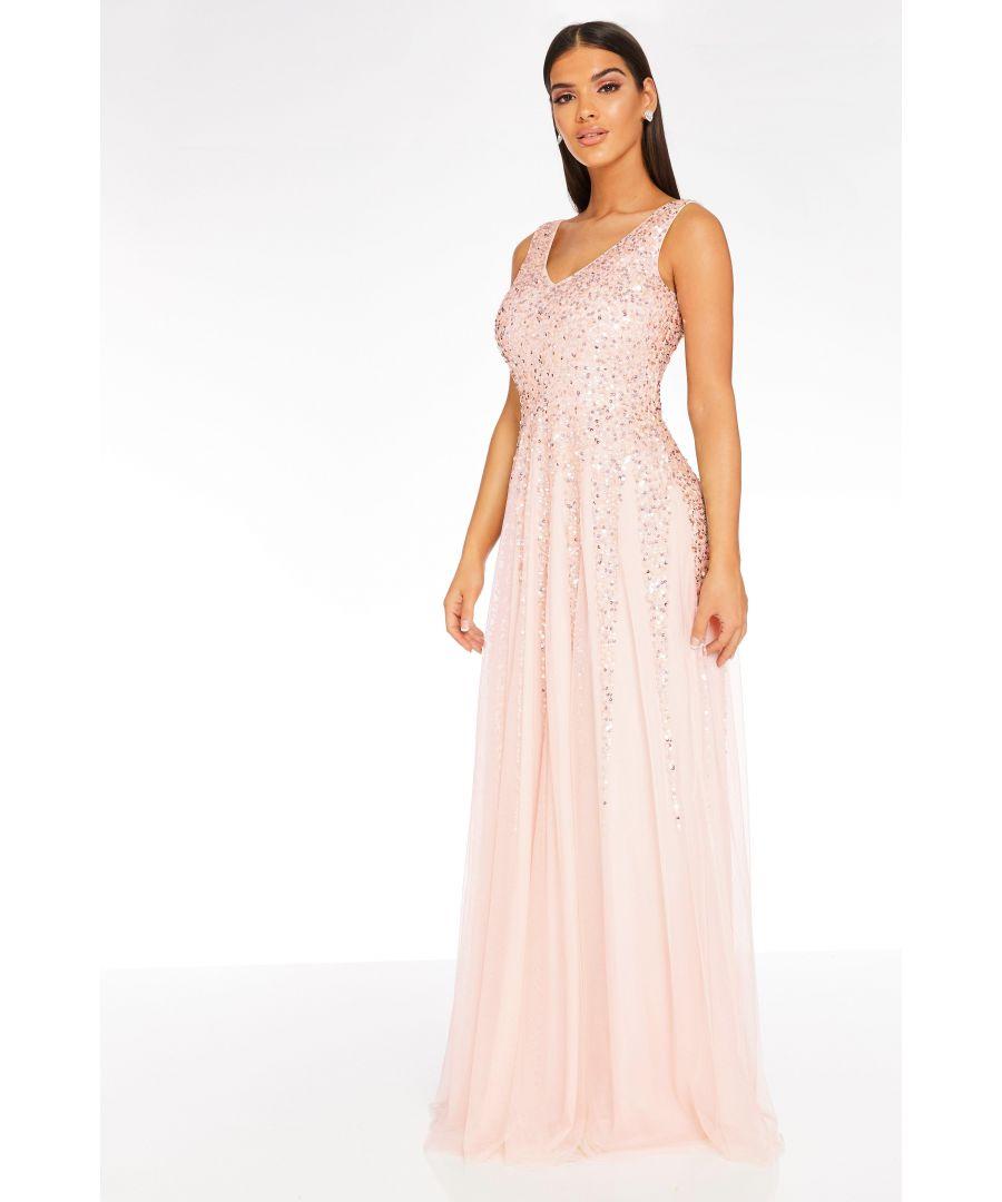 Image for Pink Sequin V Neck Maxi Dress