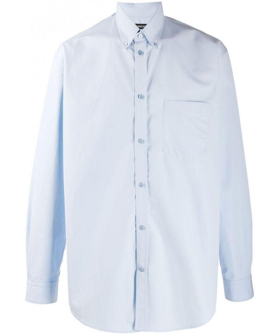 Image for BALENCIAGA MEN'S 508465TYB184850 LIGHT BLUE COTTON SHIRT