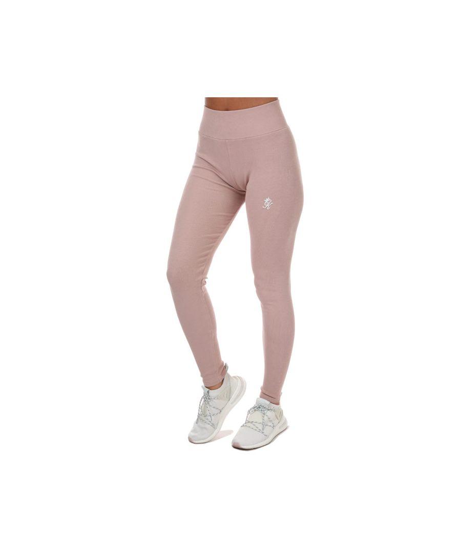 Image for Women's Gym King Aura Script Rib Leggings in Pink