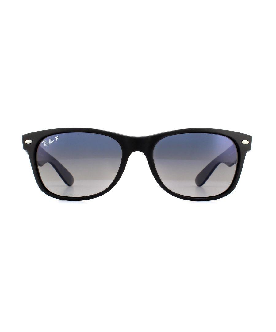 Image for Ray-Ban Sunglasses New Wayfarer 2132 601S78 Matt Black Grey Blue Polarized 55mm