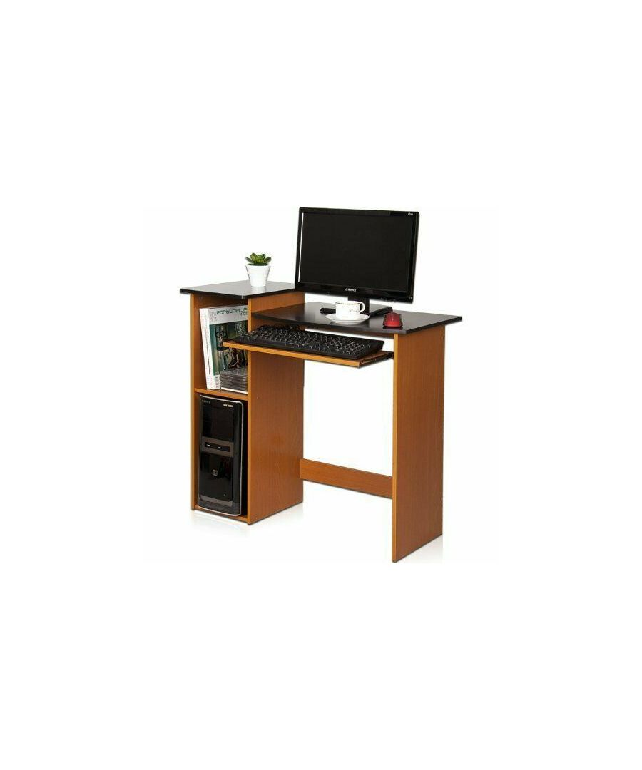 Image for Furinno Econ Multipurpose Computer Writing Desk - Light Cherry/Black