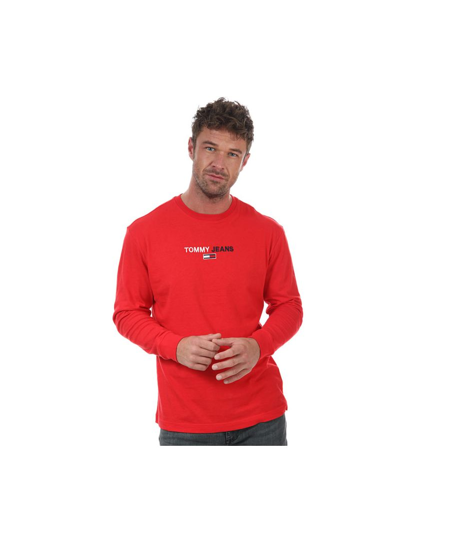 Image for Men's Tommy Hilfiger Contrast Linear Logo Long Sleeve  T-Shirt in Red