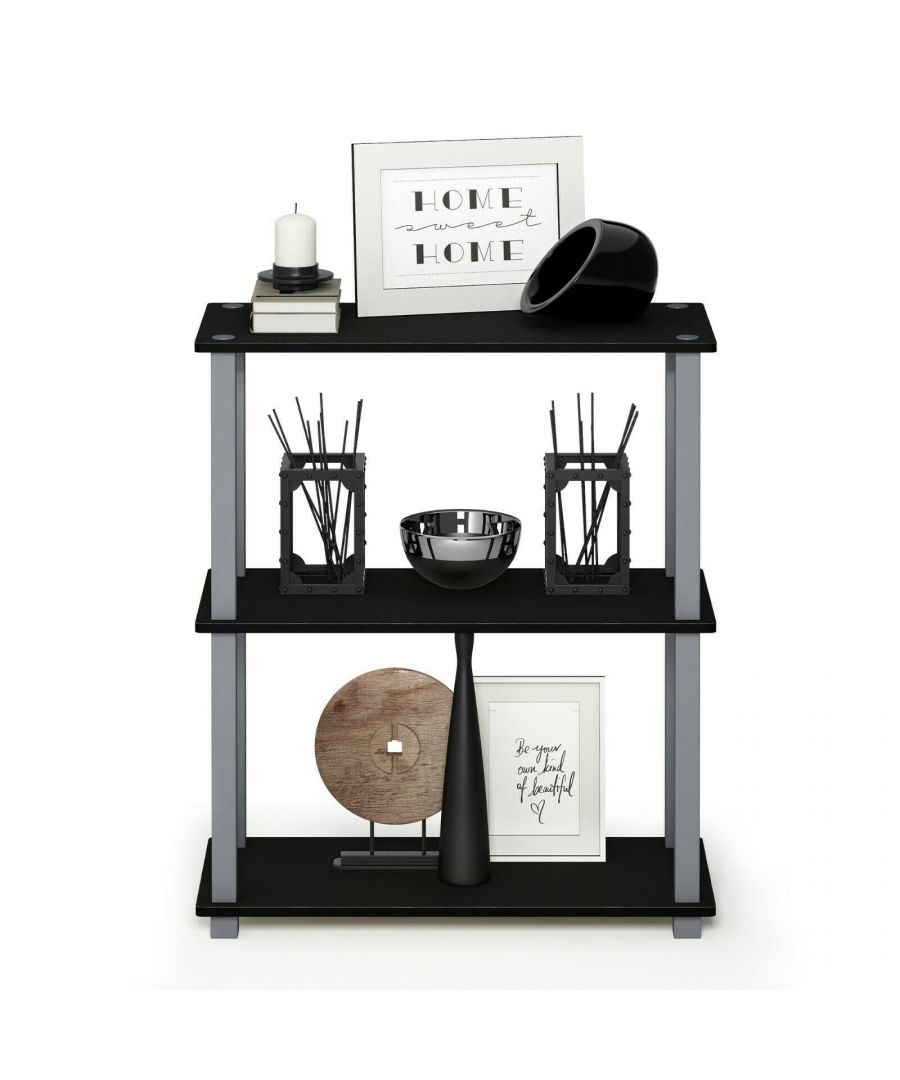 Image for Furinno Turn-S-Tube 3-Tier Compact Multipurpose Shelf Display Rack with Square Tube - Black/Grey