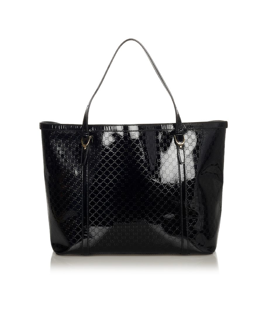 Image for Vintage Gucci Microguccissima Nice Patent Leather Tote Bag Black