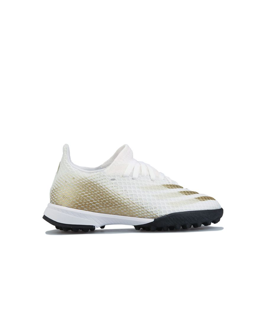 Image for Boy's adidas Childrens X GHOSTED.3 Turf Football Boots in White gold