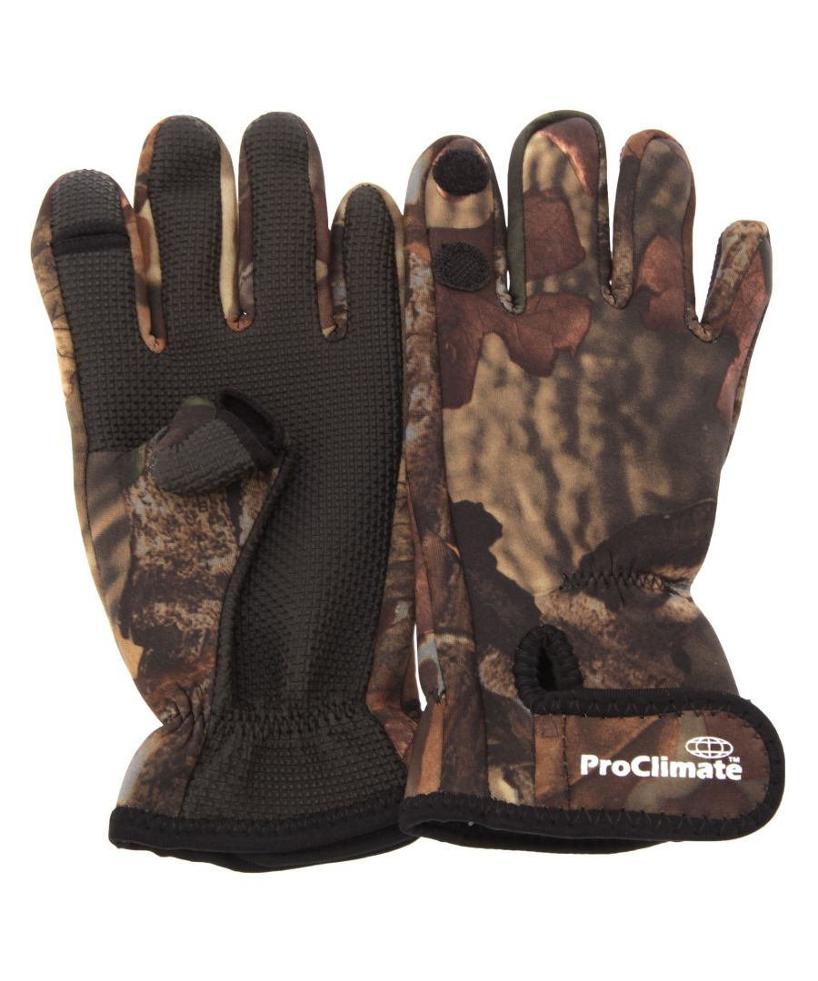 Image for Floso Mens Neoprene Premium Angling/Fishing Gloves (Camouflage)