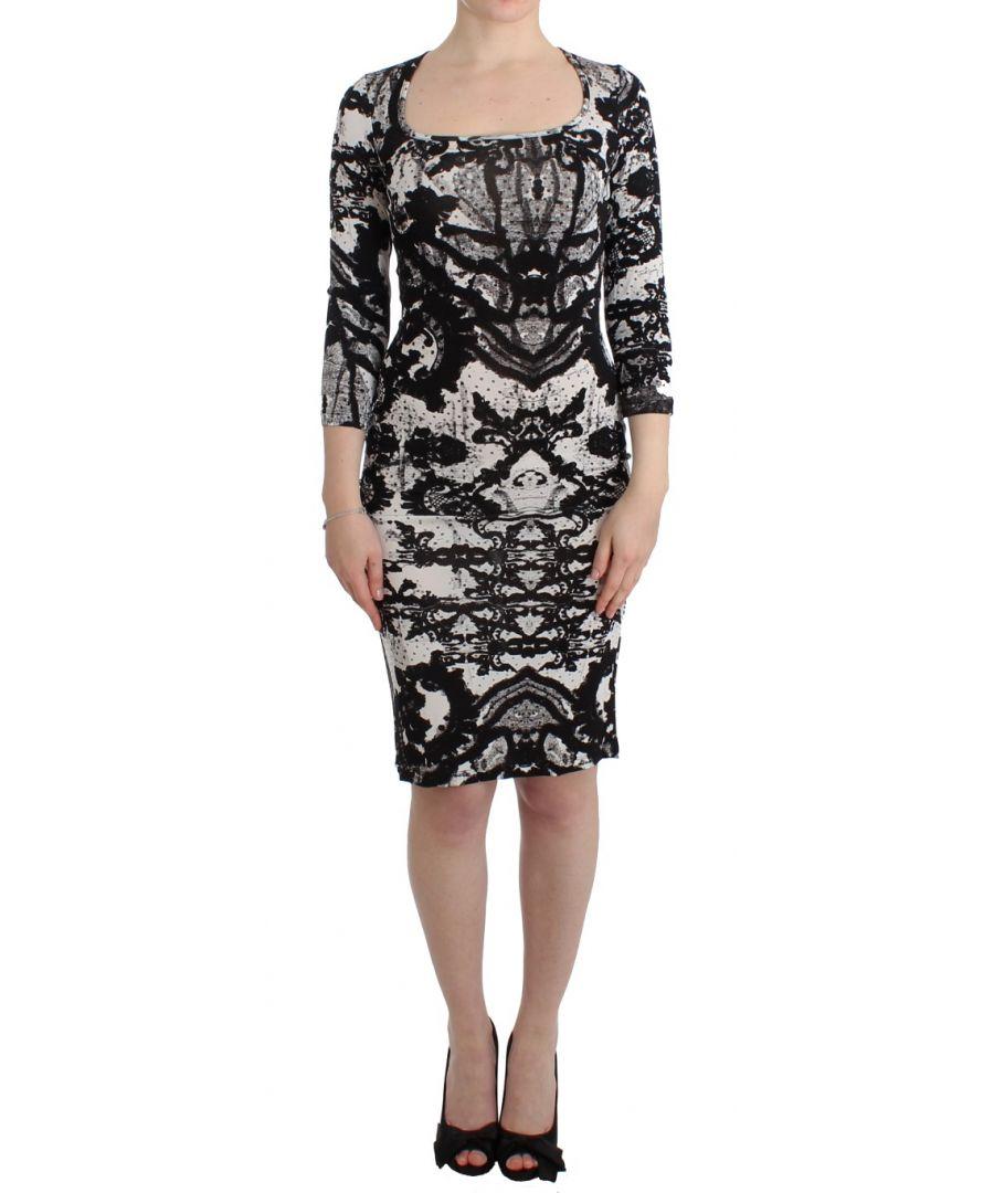 Image for Cavalli Black Printed Sheath Dress