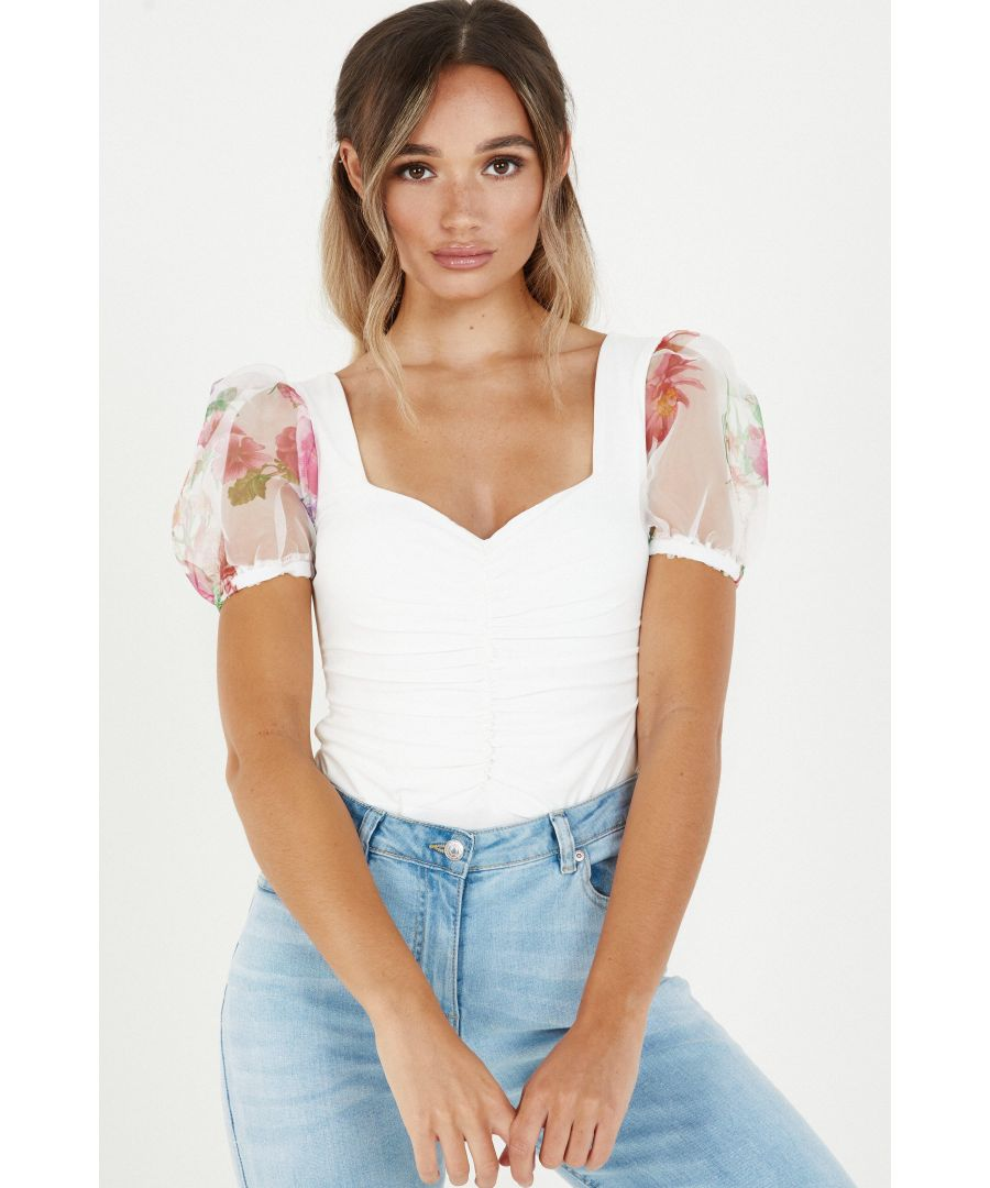 Image for Cream Organza Sleeve Ruched Bodysuit