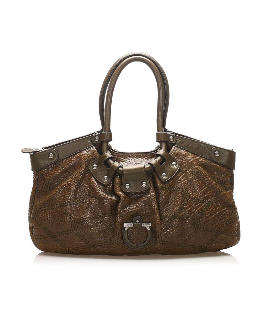 Image for Vintage Ferragamo Gancini Leather Shoulder Bag Brown
