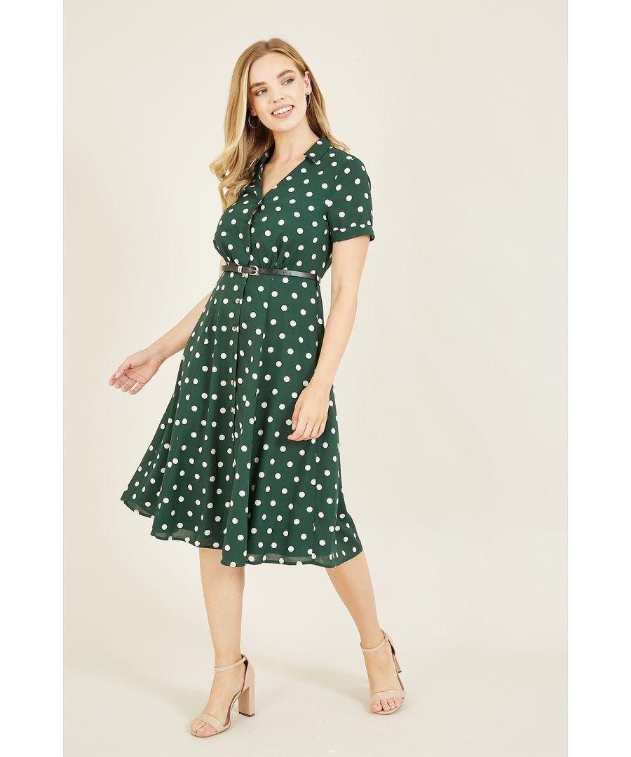 Image for Yumi Green Spot Print Retro Shirt Dress