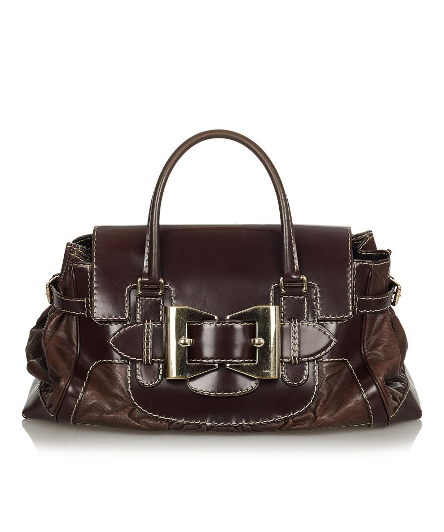 Image for Vintage Gucci Dialux Queen Leather Handbag Brown