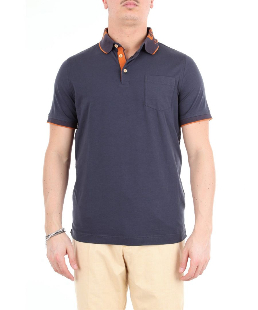 Image for HERITAGE MEN'S 0851PBLUSCURO BLUE COTTON POLO SHIRT