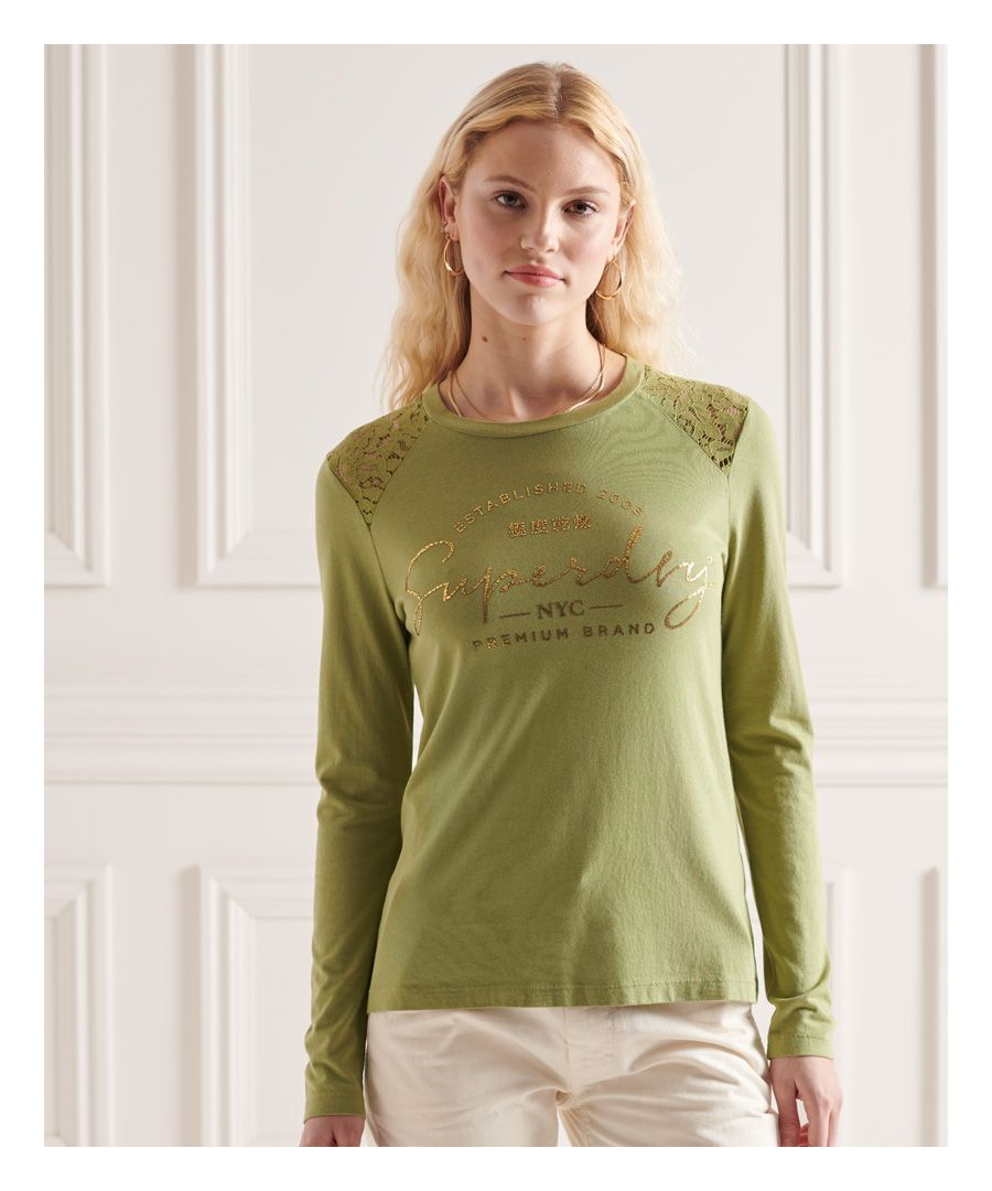 Image for Superdry NYC Lace Shoulder Graphic Top