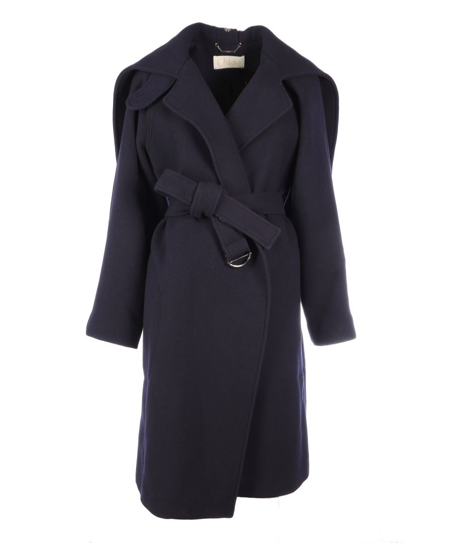 Image for CHLOÉ WOMEN'S CHC19AMA0607248B BLUE WOOL TRENCH COAT