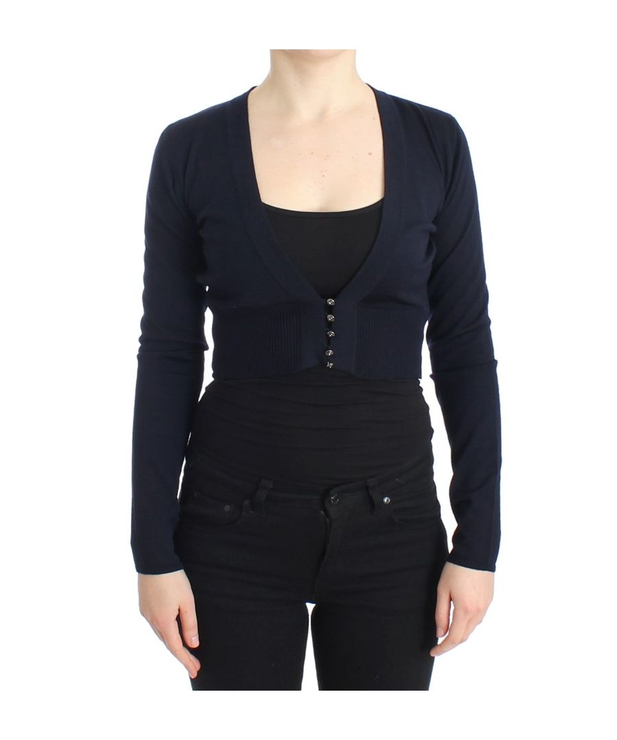 Image for Cavalli Blue cropped wool cardigan