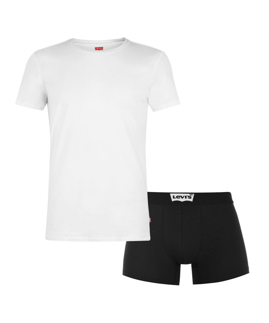 Image for Levi's Mens Lightweight 2 Piece Crew Neck Short Sleeve Top Boxers Underwear Set