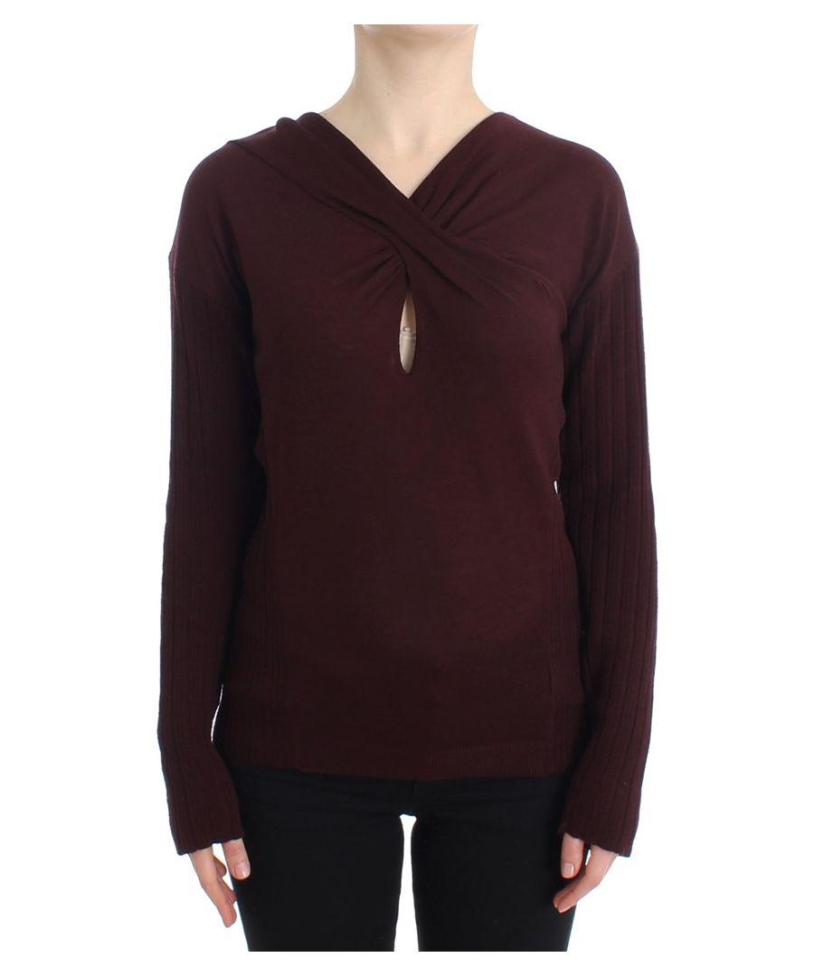Image for Cavalli Purple wool keyhole sweater