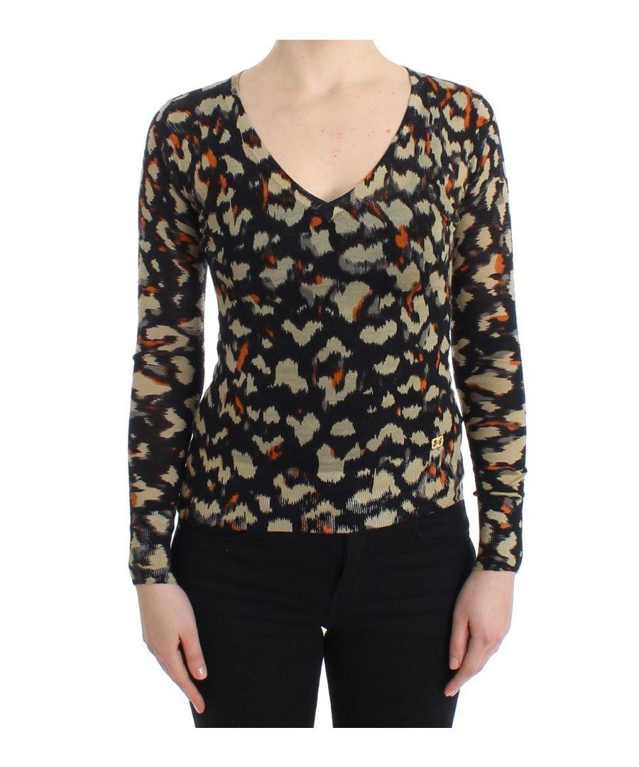 Image for Cavalli Multicolor v-neck wool jumper