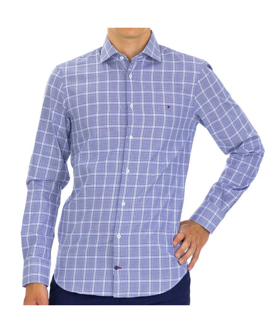 Image for Tommy Hilfiger Men's Shirt Slim Fit with Long Sleeve Blue