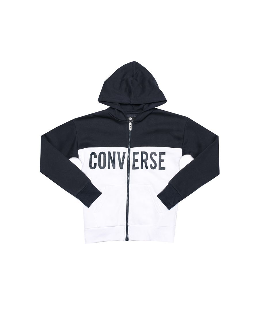 Image for Boy's Converse Junior Colourblock Zip Hoody in Navy