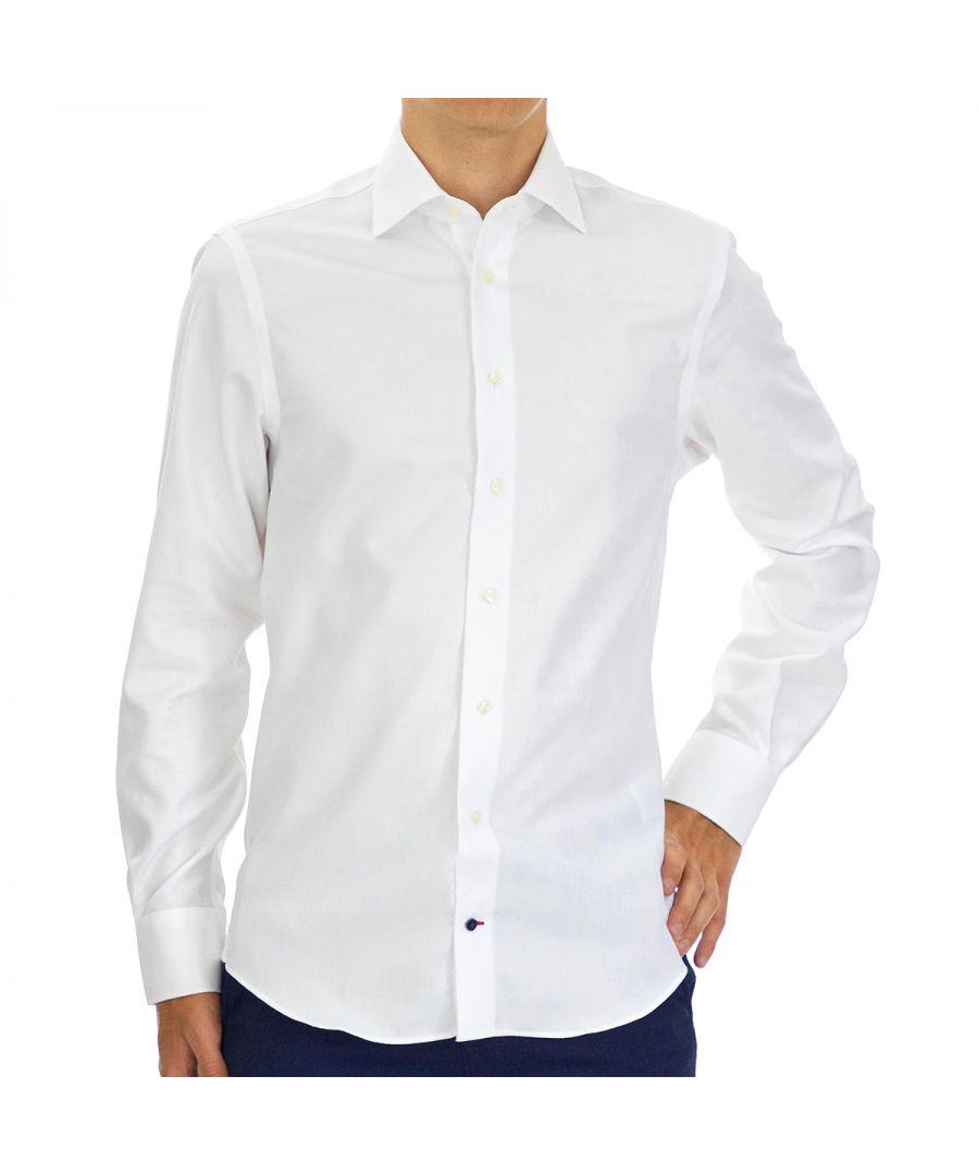 Image for Tommy Hilfiger Men's Shirt Dobby Regular Fit Full Sleeve White