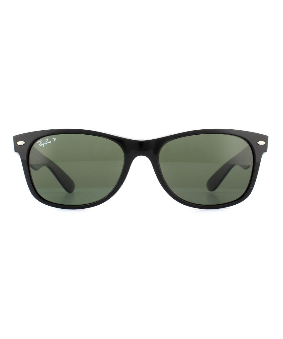 Image for Ray-Ban Sunglasses New Wayfarer 2132 901/58 Black Green G-15 Polarized 52mm