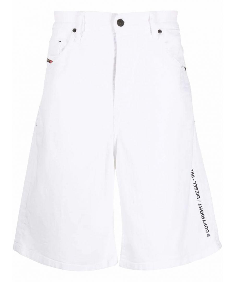 Image for DIESEL MEN'S 00SSR3069EA100 WHITE COTTON SHORTS