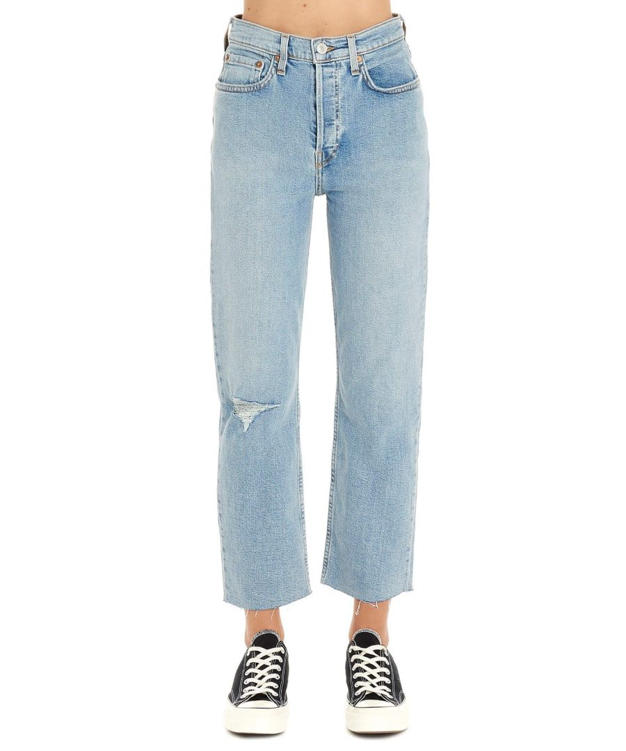 Image for RE/DONE WOMEN'S 1903WSTV27CLOUDYBLUE LIGHT BLUE COTTON JEANS