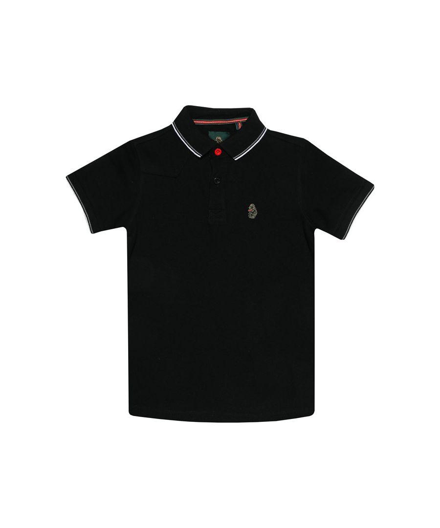 Image for Boys' Luke 1977 Junior Tip Off Polo Shirt in Black-White