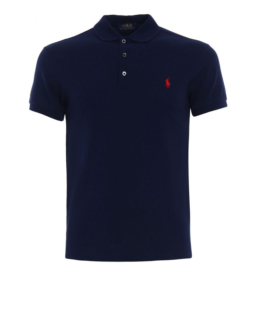 Image for RALPH LAUREN MEN'S 710541705009 BLUE COTTON POLO SHIRT