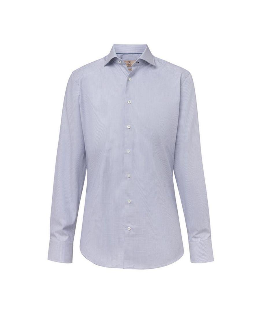 Image for Men's Hackett, Mayfair Piquet Dots Long Sleeve Shirt in White & Navy