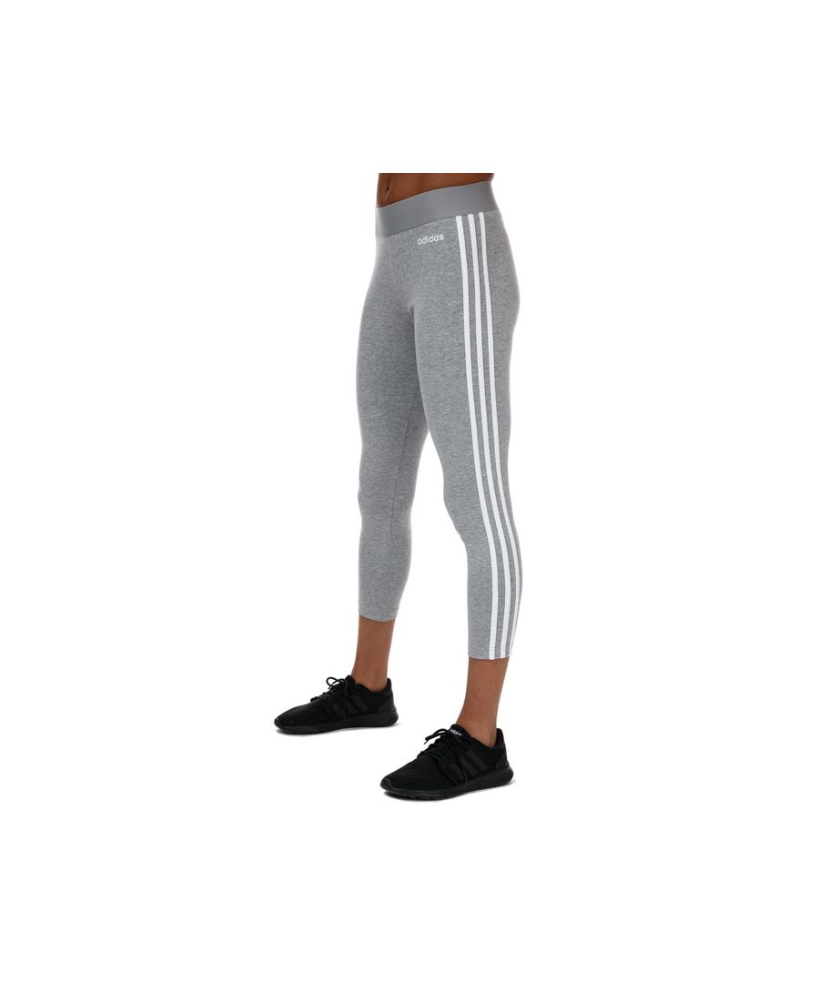 Image for Women's adidas Essentials 3-Stripes Leggings in Grey White