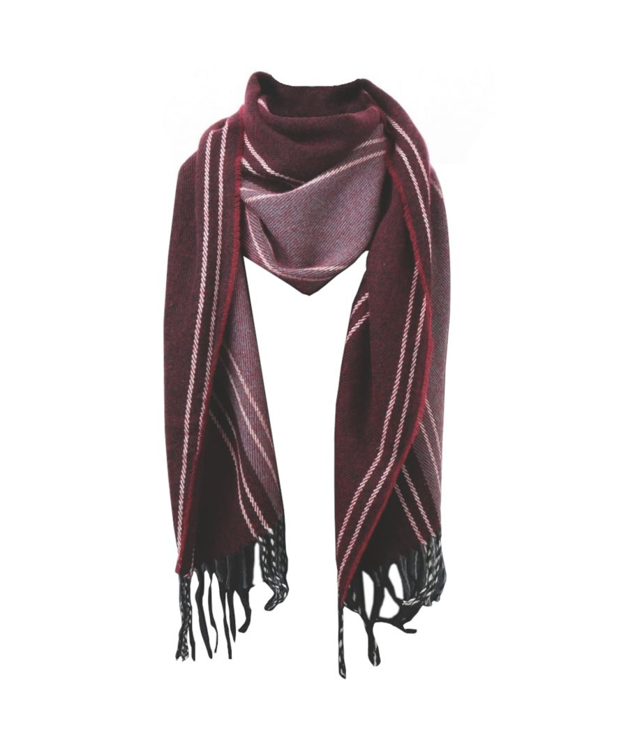 Image for Asquith & Fox Mens Stripe Fringed Scarf (Burgundy)