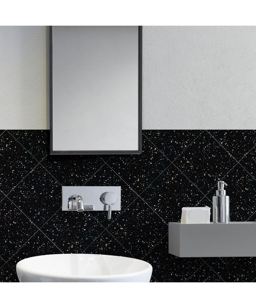 Image for Terrazzo Holographic Glitter Black Wall Tile Sticker Set - 15cm (6inch) - 24pcs one pack