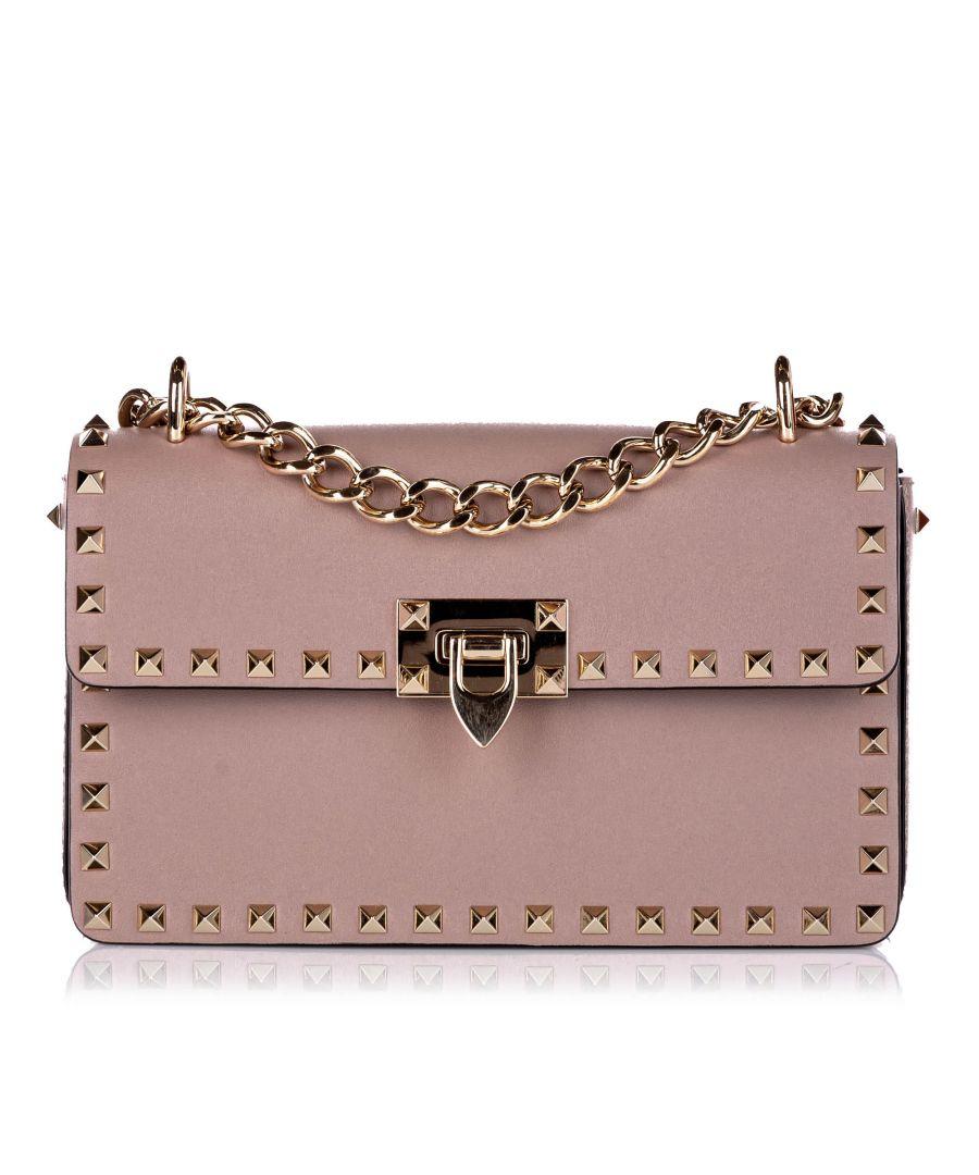 Image for Vintage Valentino Rockstud Leather Crossbody Bag Pink