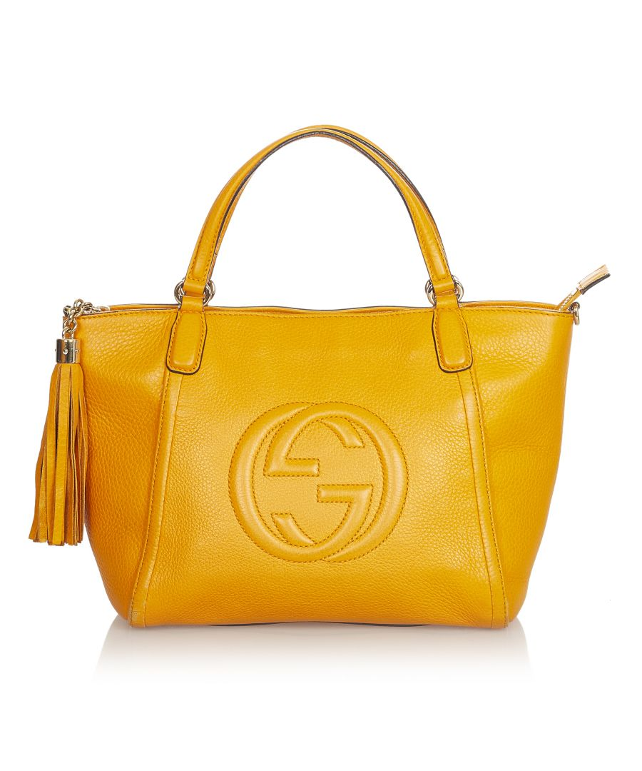 Image for Vintage Gucci Soho Cellarius Leather Satchel Yellow