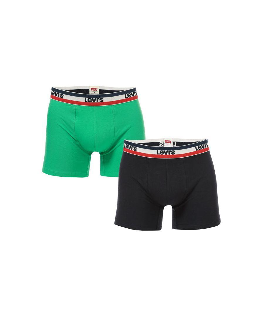 Image for Men's Levis 2 Pack Sports Logo Boxer Shorts in Green black